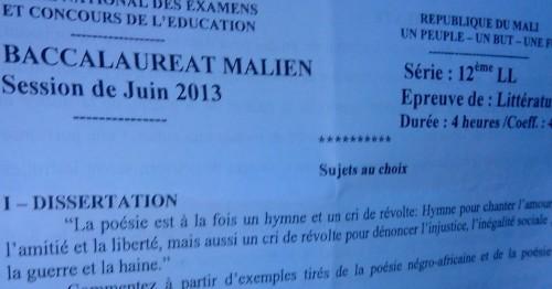le sujet de dissertation au baccalauréat (photo-crédit: Boubacar