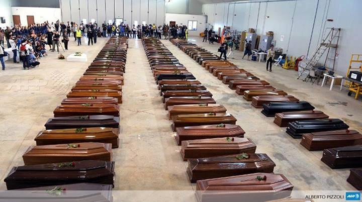 Les corps des immigrésPhoto: AFP